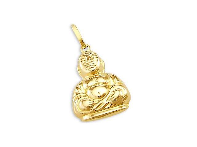 14k Yellow Gold Chinese Budda Charm Pendant Fat Classic (Height = 1