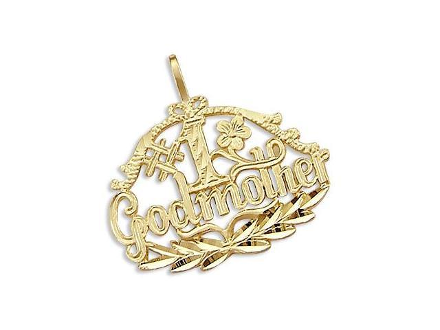 14k Yellow Gold #1 Grodmother Love Charm Pendant New (Height = 1