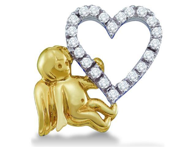 14k Yellow and White Two Tone Gold Angel Heart Love Round Cut Diamond Pendant (1/6 cttw, H Color, I1 Clarity)