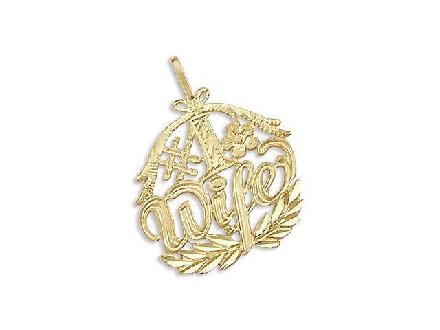 14k Yellow Gold #1 Wife Flower Love Charm Pendant New (Height = 1