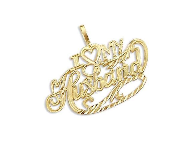 14k Yellow Gold I Love My Husband Heart Charm Pendant (Height = 1