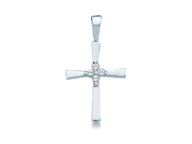 10k White Gold Round Cut Diamond Cross Shape Pendant (.05 cttw, H Color, I1 Clarity)
