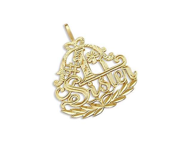 14k Yellow Gold #1 Sister Family Love Charm Pendant New (Height = 1