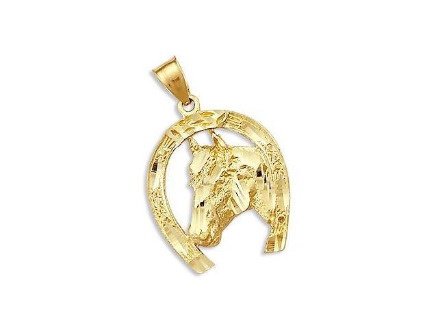 Solid 14k Yellow Gold Horse Shoe Lucky Charm Pendant (Height = 1.25