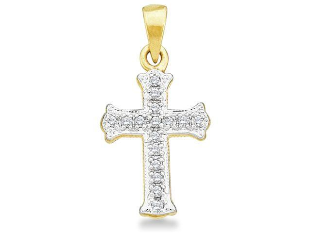 10k Yellow Gold Round Cut Diamond Cross Shape Pendant - 10mm Width * 19mm Height (.08 cttw, H Color, I1 Clarity)