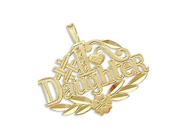 14k Yellow Gold #1 Daughter Family Love Charm Pendant (Height = 1