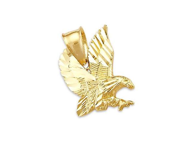 14k Yellow Gold Eagle Bird Pendant Charm New (Height = 3/4