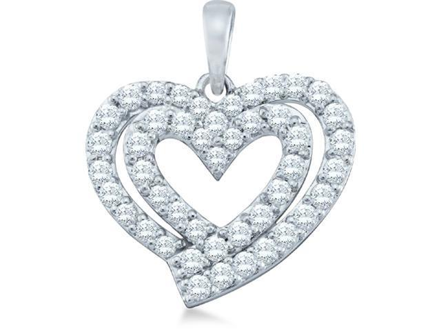 10k White Gold Round Cut Diamond 2 Two Heart Shape Love Pendant (.78 cttw, H Color, I1 Clarity)