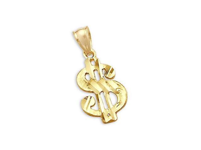 14k Yellow Gold Dollar Sign Money Pendant Charm New (Height = 1