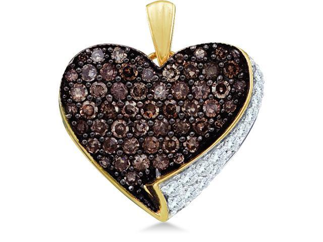 10k Yellow and White Two Tone Gold Round Cut Brown Chocolate and White Diamond Heart Shape Love Pendant (.85 cttw, H Color, I1 Clarity)