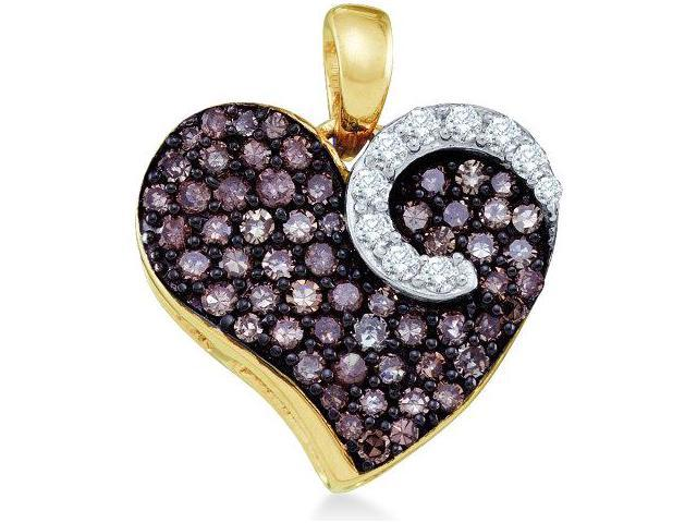 10k Yellow and White Two Tone Gold Round Cut Brown Chocolate and White Diamond Heart Shape Love Pendant (3/4 cttw, H Color, I1 Clarity)