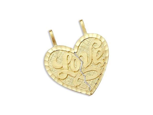 14k Yellow Gold Love Breakable Heart Pendant Charm New (Height = 1