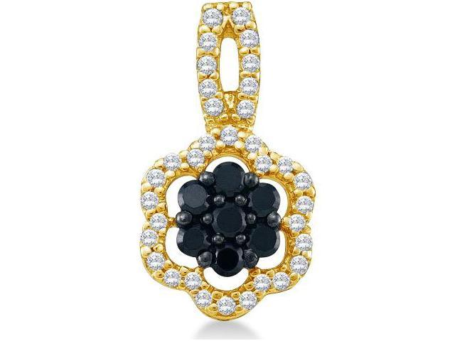 10k Yellow Gold Round Cut Black and White Diamond Flower Shape Cluster Pendant (1/3 cttw, H Color, I1 Clarity)