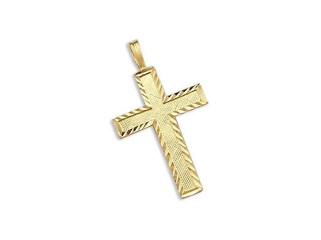 Solid 14k Yellow Gold Pendant Charm Cross Crucifix New (Height = 1.25