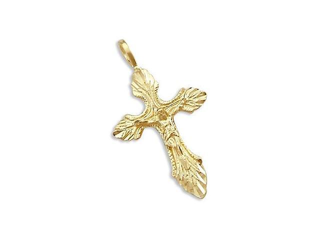 Solid 14k Yellow Gold Pendant Charm Cross Crucifix New (Height = 1