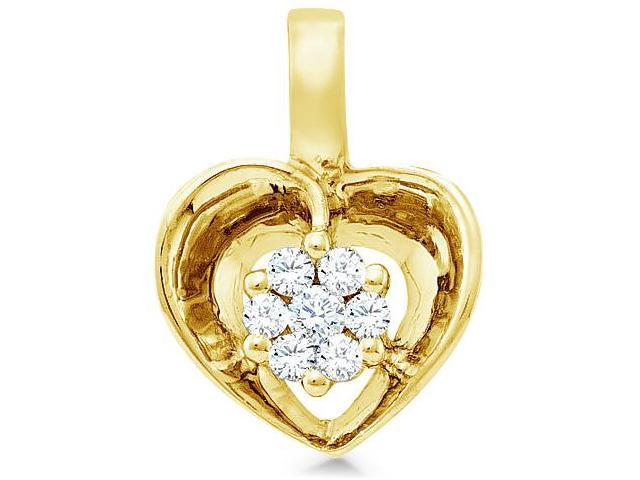 14k Yellow Gold Round Diamond Heart Pendant - 9mm Width * 13mm Height (.08 cttw, H Color, I1 Clarity)