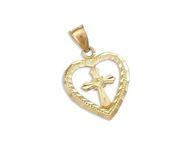 Solid 14k Yellow Gold Cross Love Heart Charm Pendant (Height = 1