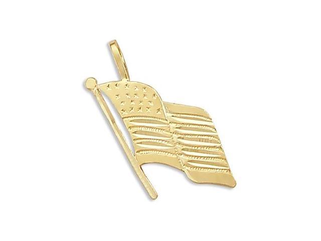 14k Yellow Gold American Flag Patriotic Charm Pendant (Height = 3/4
