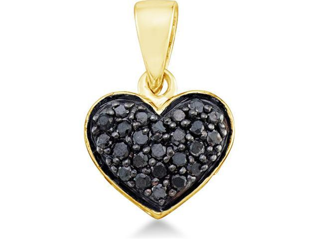 10k Yellow Gold All Black Diamond Round Cut Heart Shape Love Pendant (1/4 cttw, H Color, I1 Clarity)