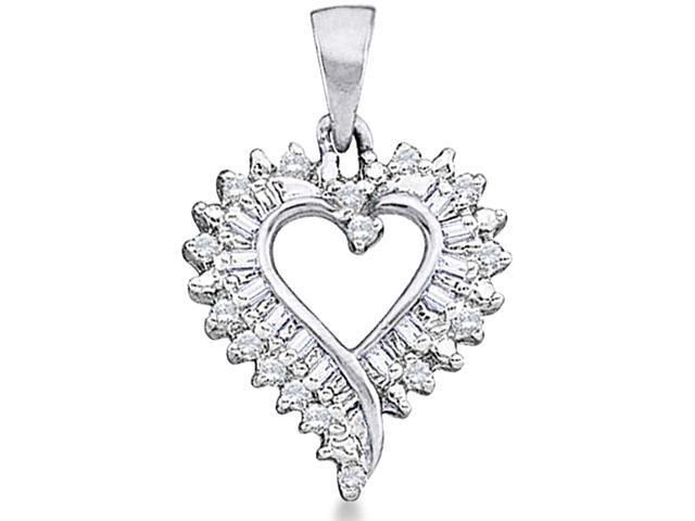 10k White and Yellow Gold Two Tone Heart Love Round Cut & Baguette Diamond Pendant (1/5 cttw, H Color, I1 Clarity)
