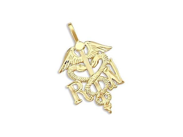 14k Yellow Gold RN Medical Caduceus New Charm Pendant (Height = 1