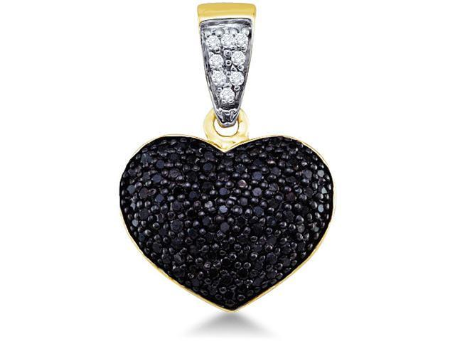 10k Yellow Gold Black and White Diamond Round Cut Heart Shape Love Puff Pendant (.55 cttw, H Color, I1 Clarity)