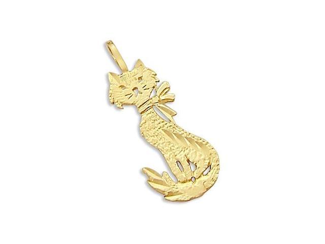 14k Yellow Gold Cat Standing Charm Pendant New CUTE (Height = 1