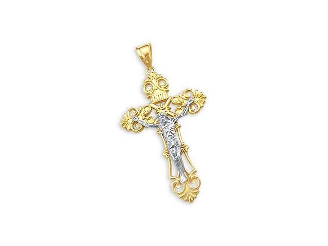 14k Yellow n White Gold Detailed Cross Crucifix Pendant (Height = 2