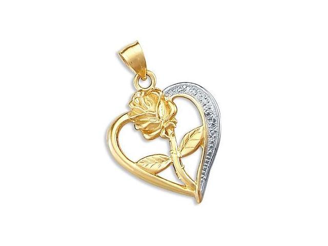 14k Yellow and White Gold Heart Flower Charm Pendant (Height = 1.25
