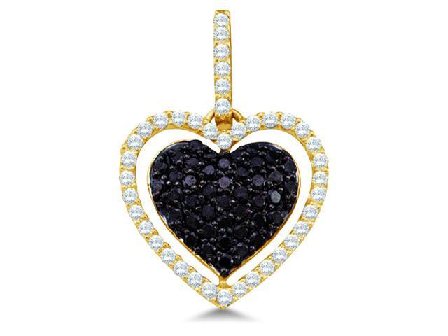 10k Yellow Gold Black and White Diamond Round Cut Heart Shape Love Puff Pendant (4/5 cttw, H Color, I1 Clarity)