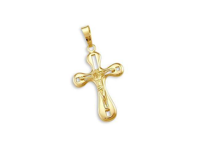 14k Yellow Gold Cross Crucifix Pendant Charm NEW Large (Height = 1.75