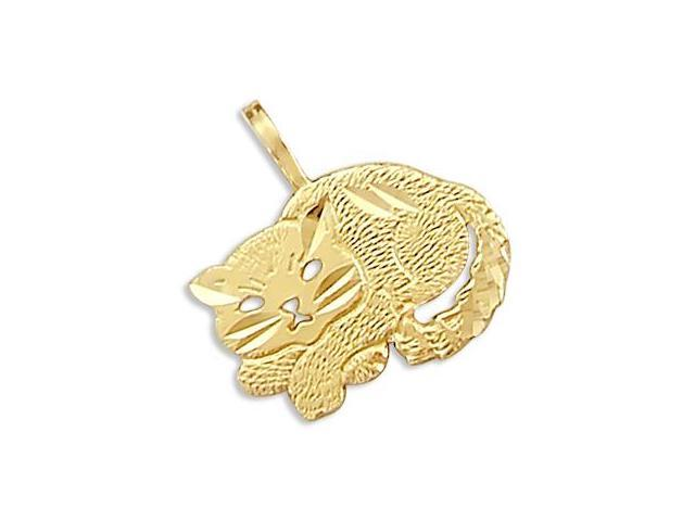 14k Yellow Gold Cat Sitting Charm Pendant New CUTE (Height = 1/2