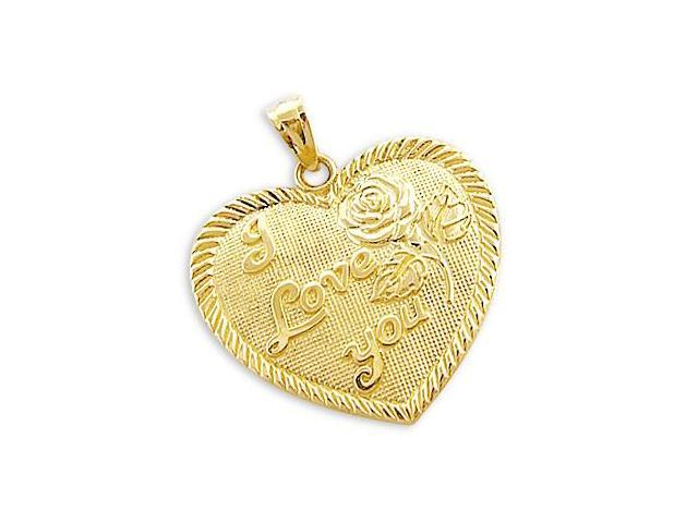 14k Yellow Gold I Love You Heart Rose Charm Pendant NEW (Height = 1
