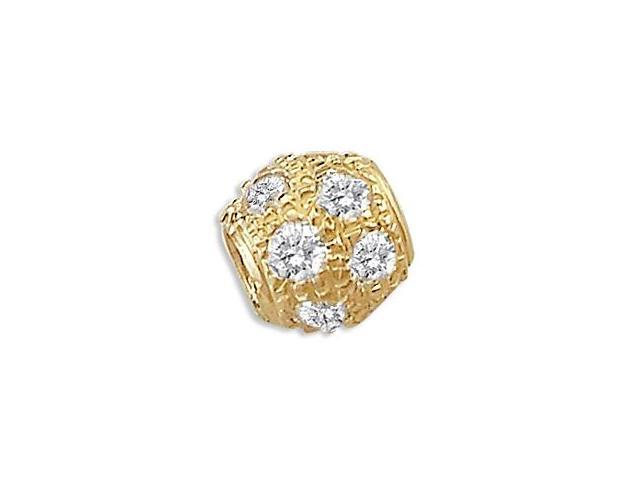 14k Yellow Gold CZ Bead Slide Ball Charm Pendant New (Height = 1/2