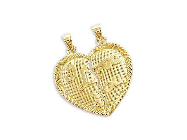 14k Yellow Gold Breakable I Love You Charm Pendant NEW (Height = 1
