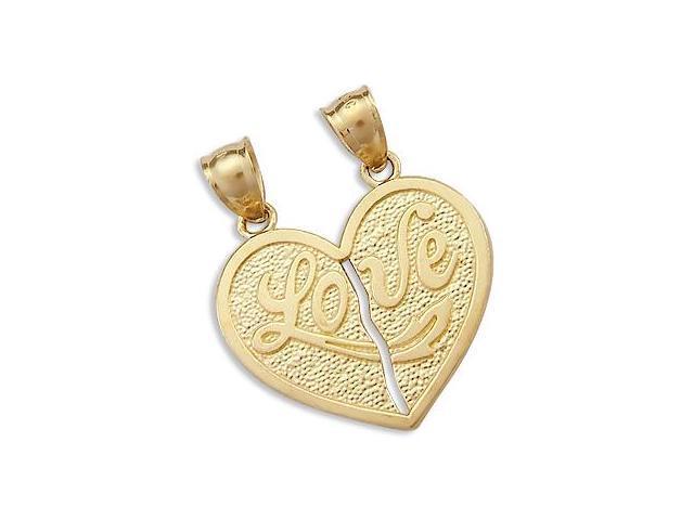 14k Yellow Gold Big Breakable Love Heart Charm Pendant (Height = 1