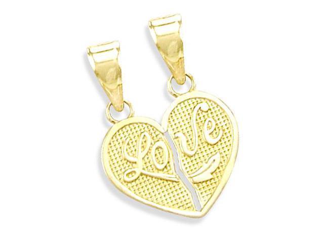 14K YELLOW GOLD BREAKABLE LOVE HEART CHARM PENDANT NEW (Height = 3/4