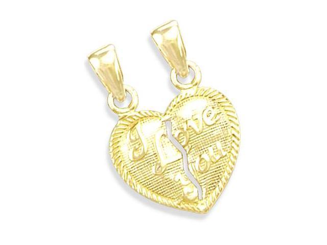 14K YELLOW GOLD I LOVE YOU HEART CHARM PENDANT SPLIT (Height = 0.62