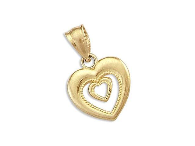 14k Yellow Gold Heart in Heart Love Charm Pendant New (Height = 3/4