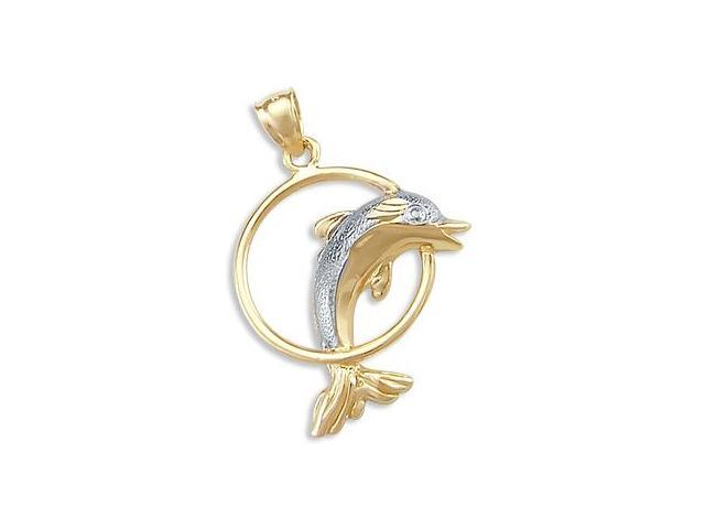 14k Yellow and White Gold Dolphin Hoop Charm Pendant (Height = 1.75