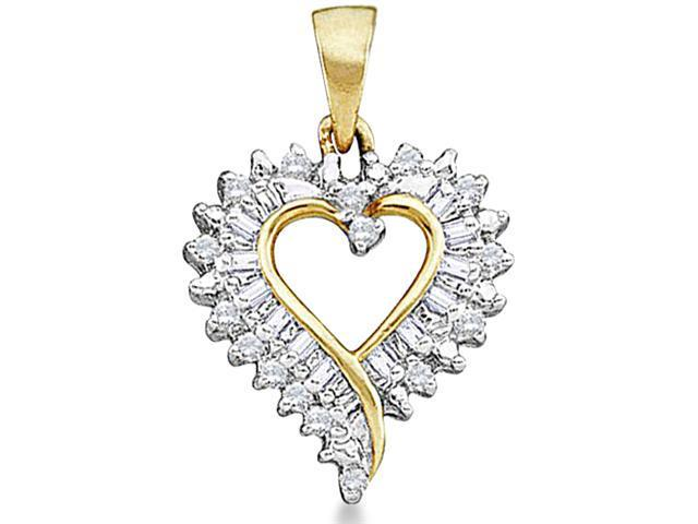 10k Yellow and White Gold Two Tone Heart Love Round Cut & Baguette Diamond Pendant (1/5 cttw, H Color, I1 Clarity)
