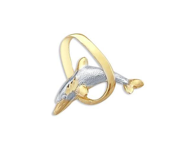 14k Yellow and White Gold Dolphin Slide Charm Pendant (Height = 3/4