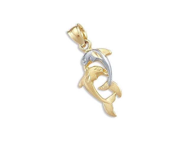 14k Yellow and White Gold Two Dolphins Charm Pendant (Height = 1