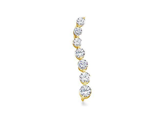 14k Yellow Gold Round Brilliant Cut Diamond 7 Seven Stone Journey Dangle Twist Pendant - 3mm Width * 18mm Height (1/4 cttw, G - H Color, I1 Clarity)