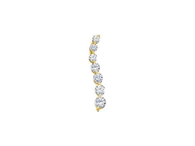 10k Yellow Gold Round Brilliant Cut Diamond 7 Seven Stone Journey Dangle Twist Pendant - 3mm Width * 18mm Height (1/4 cttw, G - H Color, I1 Clarity)