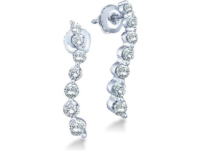 14k White Gold Round 7 Seven Diamond Dangle Twist Journey Earrings - 16mm Height * 2mm Width (1/4 cttw, G - H Color, I1 Clarity)