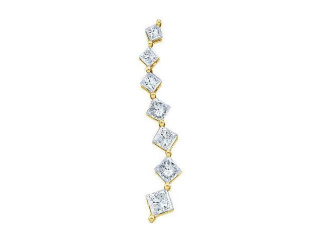 14k Yellow Gold Princess Cut Diamond 7 Seven Stone Journey Dangle Twist Pendant - 5mm Width * 21mm Height (1/2 cttw, G - H Color, SI2 Clarity)