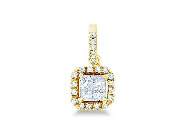 14k Yellow Gold Invisible Channel Set Princess and Round Cut Diamond Pendant in Square Setting (1/4 cttw, H Color, I1 Clarity)