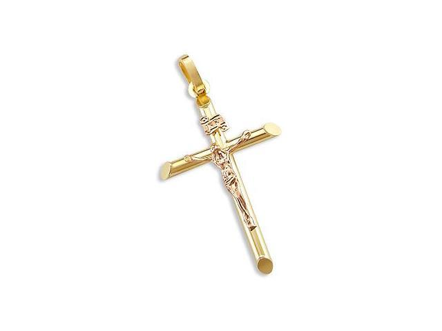 14k Yellow n Rose Gold Tube Cross Crucifix Pendant 1.5 (Height = 1.5