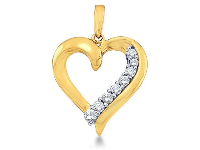 10k Yellow Gold Round Diamond Love Heart Shape Pendant (1/4 cttw, H Color, I1 Clarity)